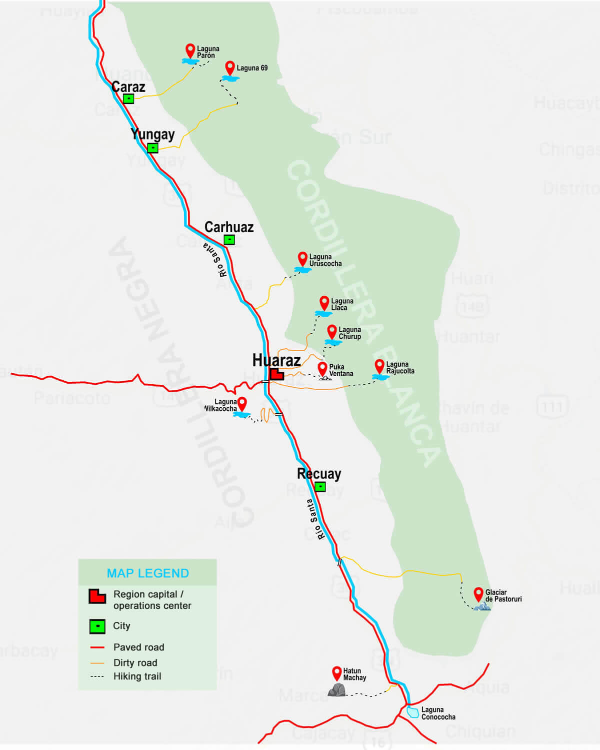 Map of one day hikes in Huaraz