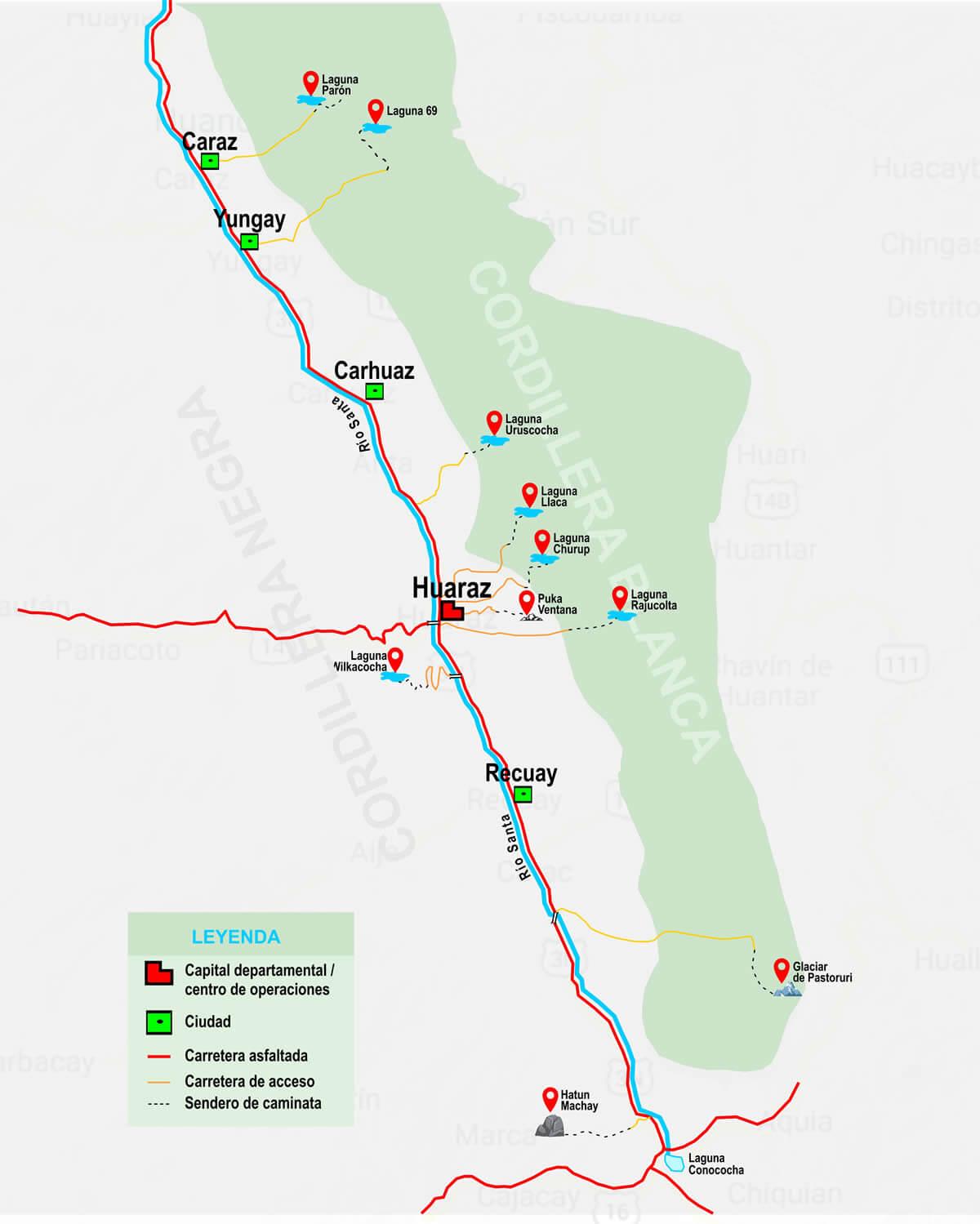 mapa de caminatas de un día