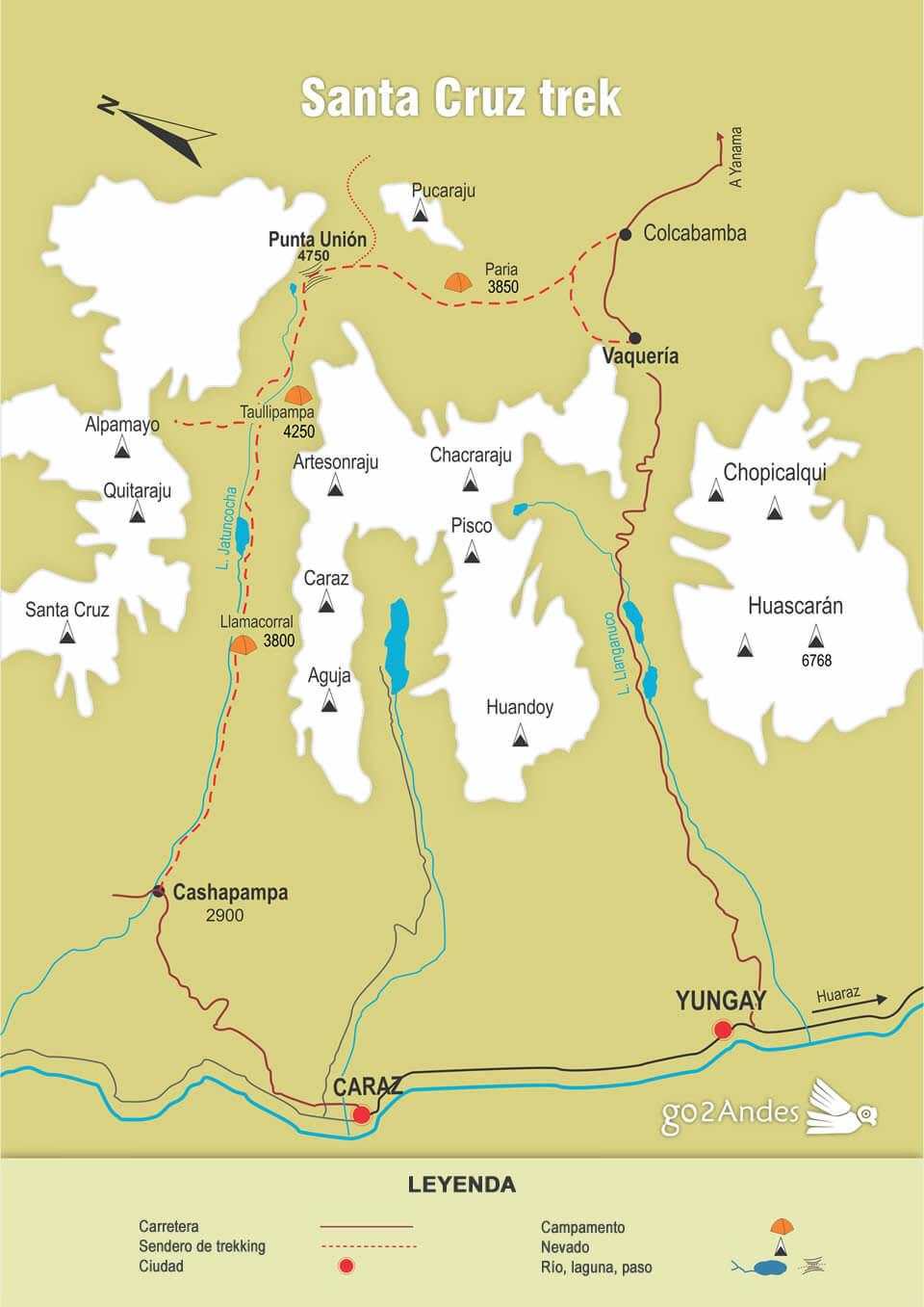 Mapa del Santa Cruz trek, Cordillera Blanca