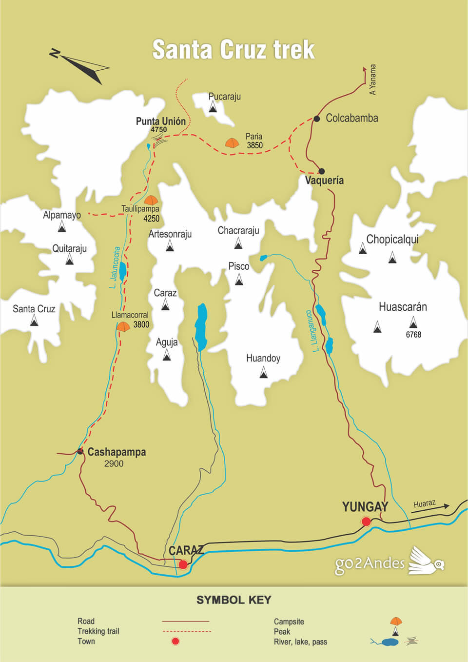 Santa Cruz trek map, Cordillera Blanca