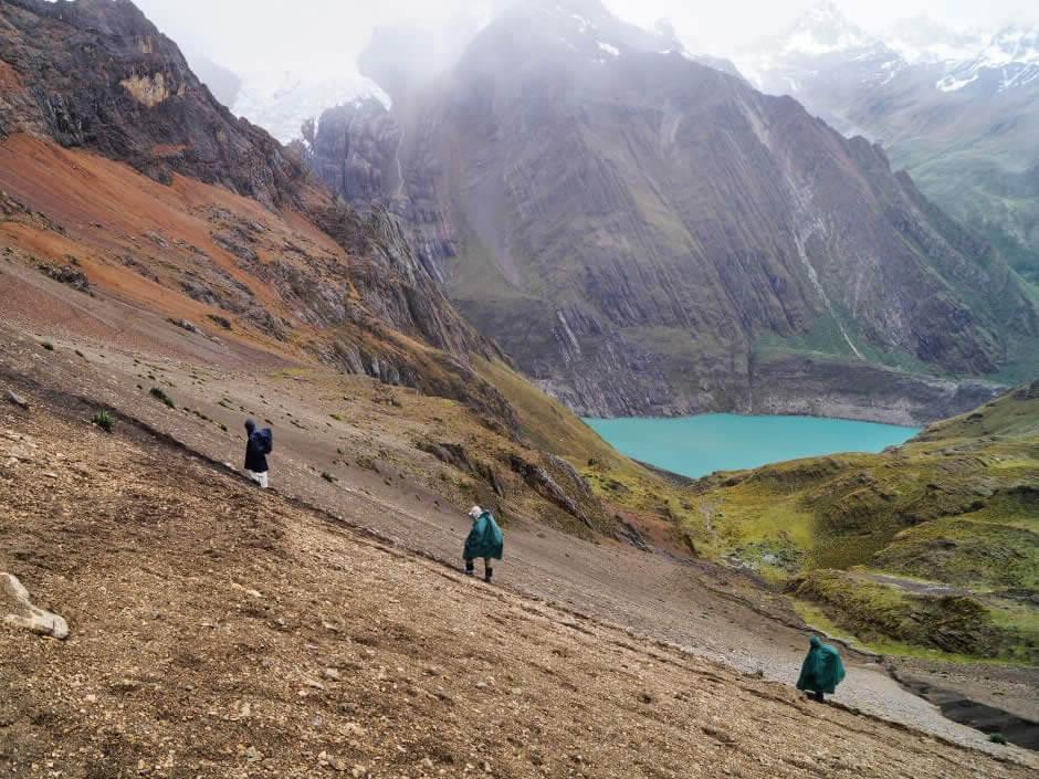Going up to Zambunya pass, Cordillera Huayhuash